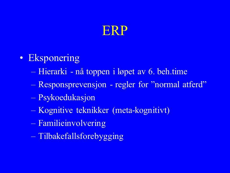 """ERP Eksponering –Hierarki - nå toppen i løpet av 6. beh.time –Responsprevensjon - regler for """"normal atferd"""" –Psykoedukasjon –Kognitive teknikker (met"""