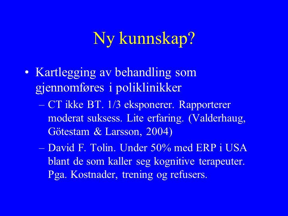 Ny kunnskap? Kartlegging av behandling som gjennomføres i poliklinikker –CT ikke BT. 1/3 eksponerer. Rapporterer moderat suksess. Lite erfaring. (Vald