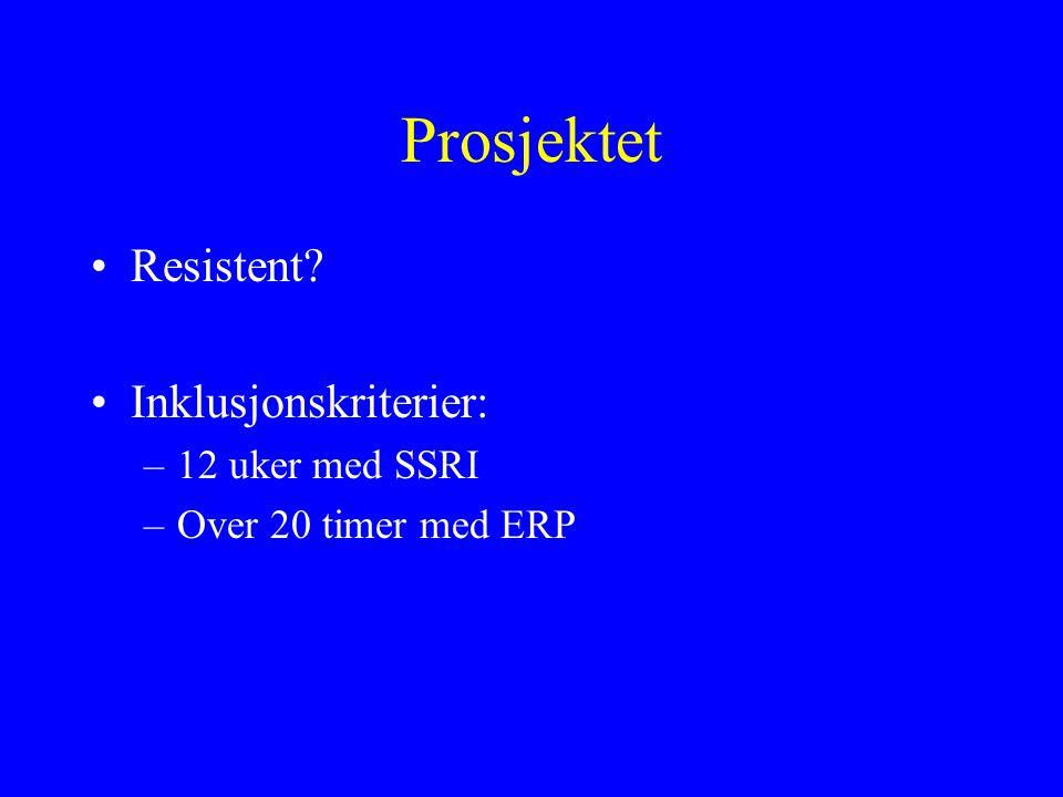 Prosjektet Resistent? Inklusjonskriterier: –12 uker med SSRI –Over 20 timer med ERP
