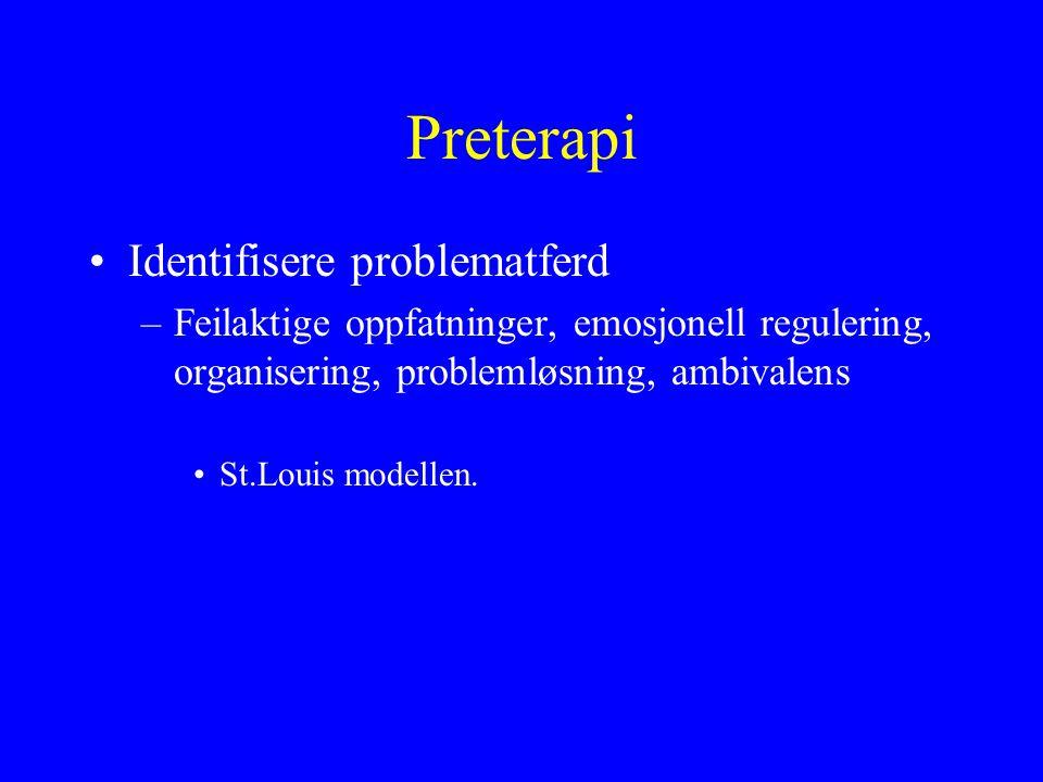 Preterapi Identifisere problematferd –Feilaktige oppfatninger, emosjonell regulering, organisering, problemløsning, ambivalens St.Louis modellen.