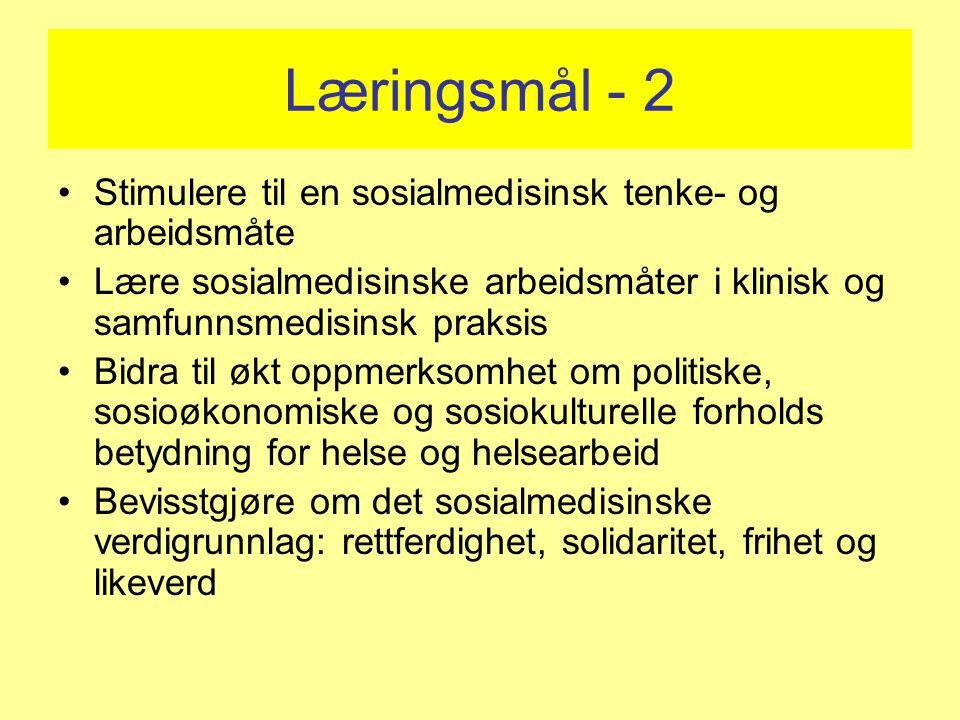 Læringsmål - 2 Stimulere til en sosialmedisinsk tenke- og arbeidsmåte Lære sosialmedisinske arbeidsmåter i klinisk og samfunnsmedisinsk praksis Bidra