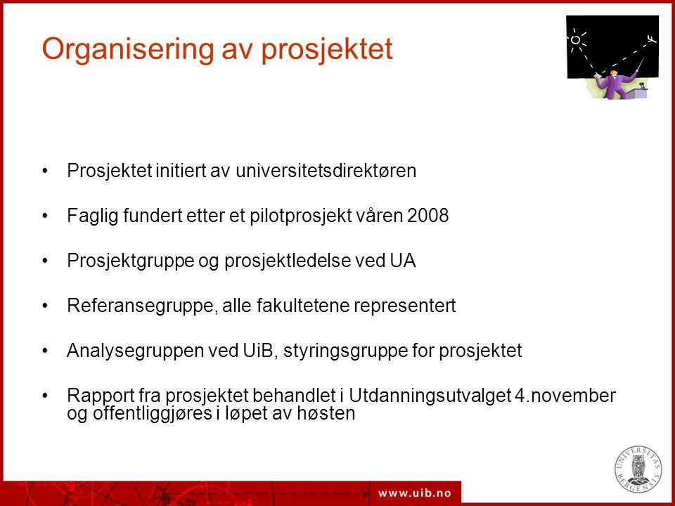 Organisering av prosjektet Prosjektet initiert av universitetsdirektøren Faglig fundert etter et pilotprosjekt våren 2008 Prosjektgruppe og prosjektle