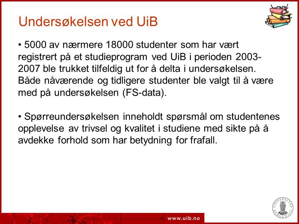 Undersøkelsen ved UiB 5000 av nærmere 18000 studenter som har vært registrert på et studieprogram ved UiB i perioden 2003- 2007 ble trukket tilfeldig