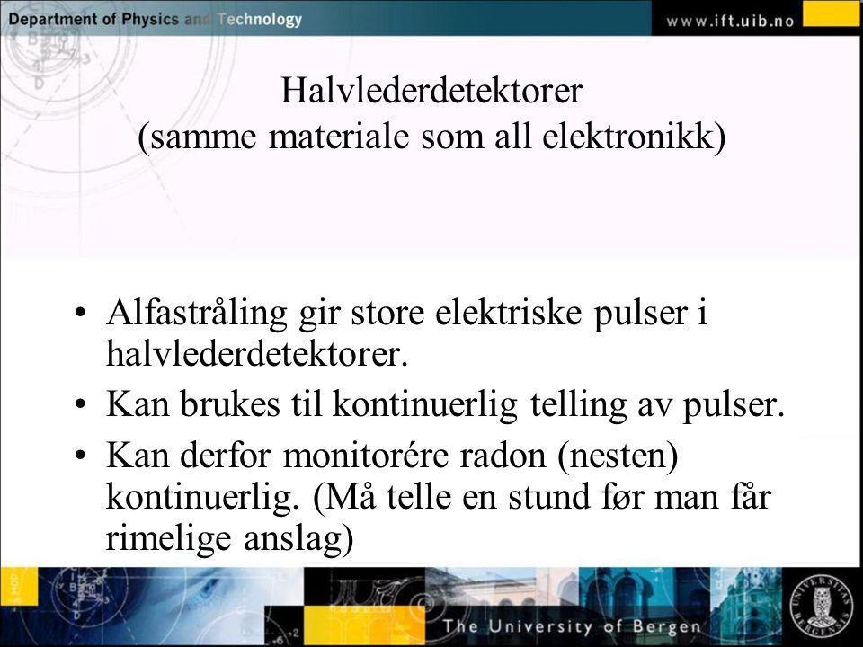 Normal text - click to edit Halvlederdetektorer (samme materiale som all elektronikk) Alfastråling gir store elektriske pulser i halvlederdetektorer.