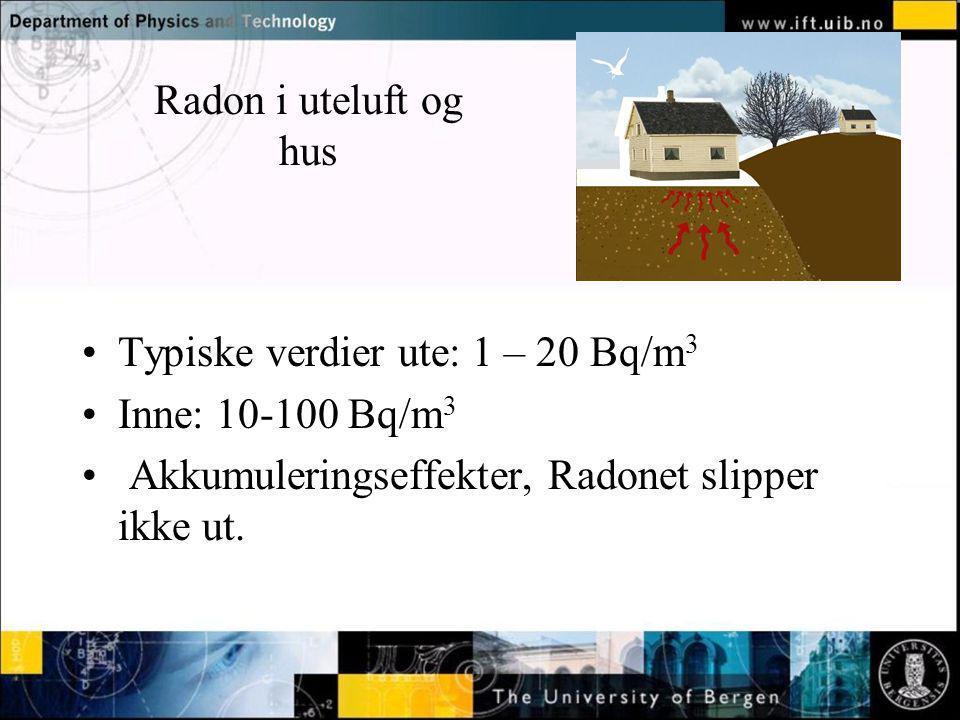 Normal text - click to edit Radon i uteluft og hus Typiske verdier ute: 1 – 20 Bq/m 3 Inne: 10-100 Bq/m 3 Akkumuleringseffekter, Radonet slipper ikke