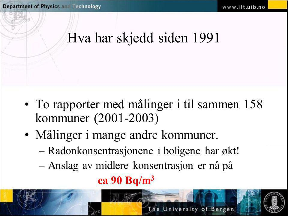 Normal text - click to edit Hva har skjedd siden 1991 To rapporter med målinger i til sammen 158 kommuner (2001-2003) Målinger i mange andre kommuner.