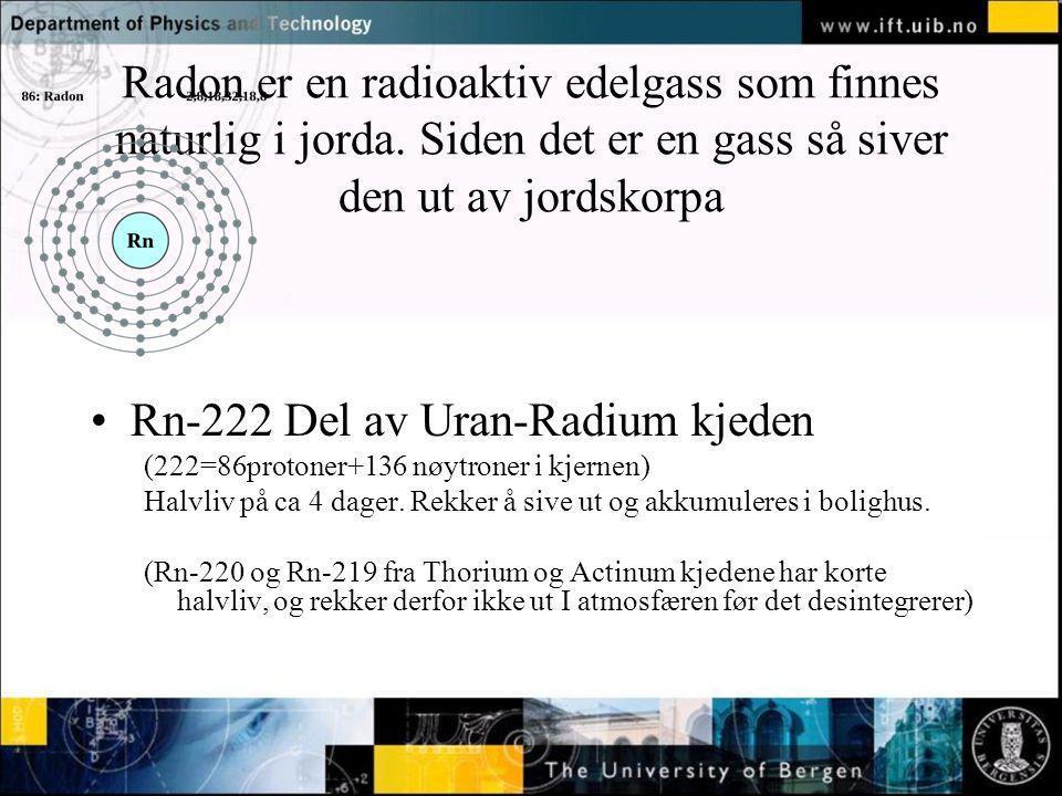 Normal text - click to edit Radon er en radioaktiv edelgass som finnes naturlig i jorda. Siden det er en gass så siver den ut av jordskorpa Rn-222 Del