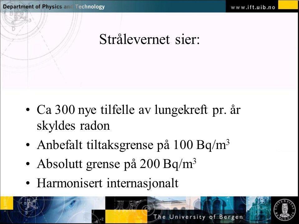 Normal text - click to edit Strålevernet sier: Ca 300 nye tilfelle av lungekreft pr. år skyldes radon Anbefalt tiltaksgrense på 100 Bq/m 3 Absolutt gr