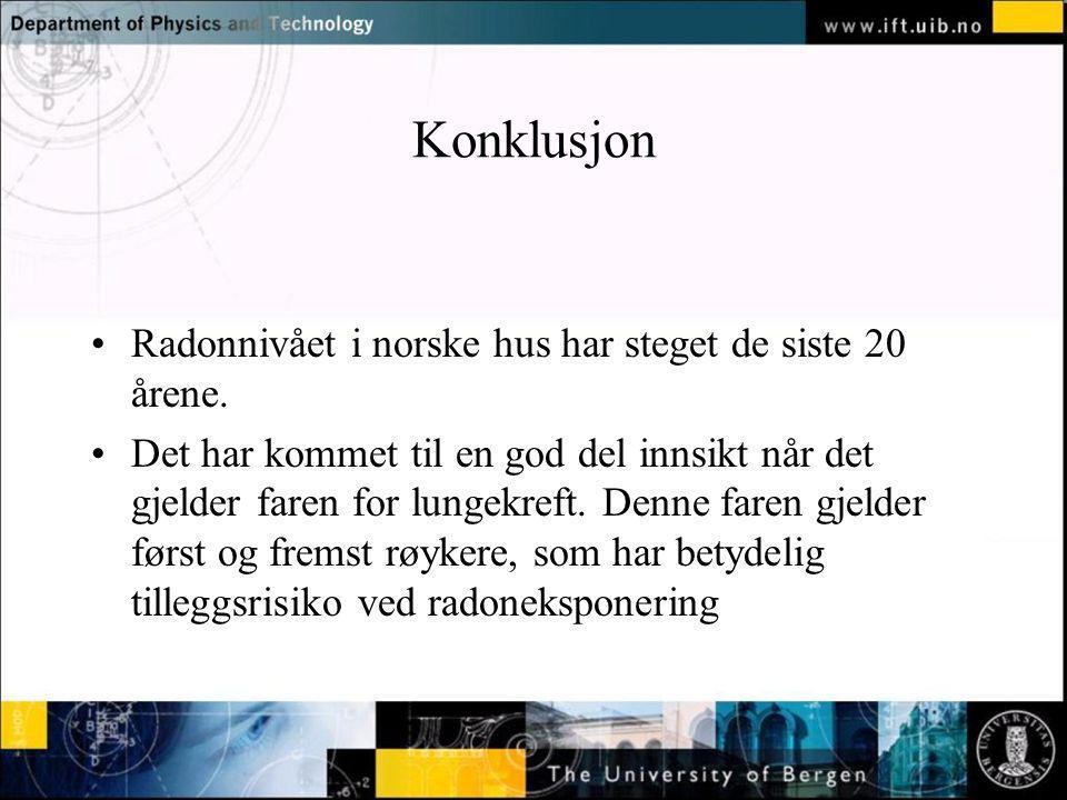 Konklusjon Radonnivået i norske hus har steget de siste 20 årene. Det har kommet til en god del innsikt når det gjelder faren for lungekreft. Denne fa