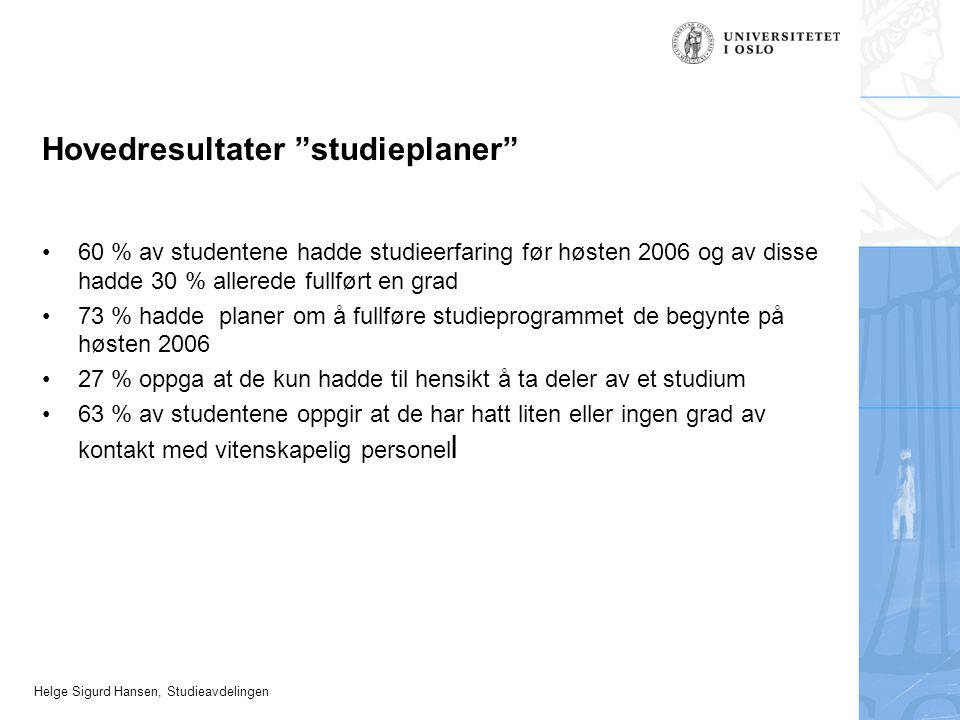 """Helge Sigurd Hansen, Studieavdelingen Hovedresultater """"studieplaner"""" 60 % av studentene hadde studieerfaring før høsten 2006 og av disse hadde 30 % al"""