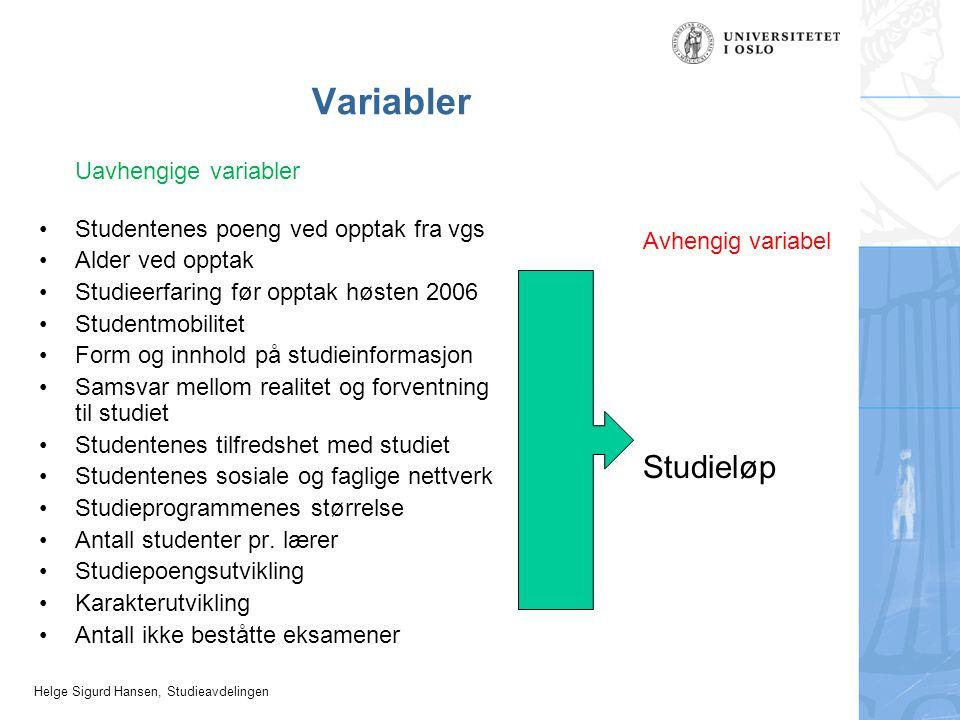 Helge Sigurd Hansen, Studieavdelingen Variabler Uavhengige variabler Studentenes poeng ved opptak fra vgs Alder ved opptak Studieerfaring før opptak h