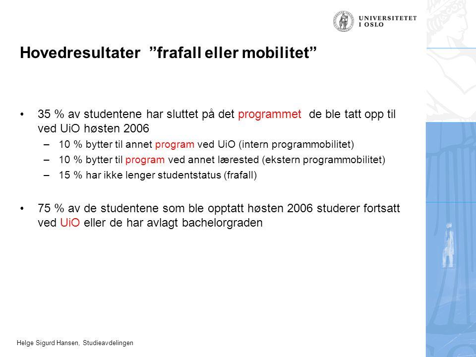 Helge Sigurd Hansen, Studieavdelingen Hovedresultater frafall eller mobilitet 35 % av studentene har sluttet på det programmet de ble tatt opp til ved UiO høsten 2006 –10 % bytter til annet program ved UiO (intern programmobilitet) –10 % bytter til program ved annet lærested (ekstern programmobilitet) –15 % har ikke lenger studentstatus (frafall) 75 % av de studentene som ble opptatt høsten 2006 studerer fortsatt ved UiO eller de har avlagt bachelorgraden