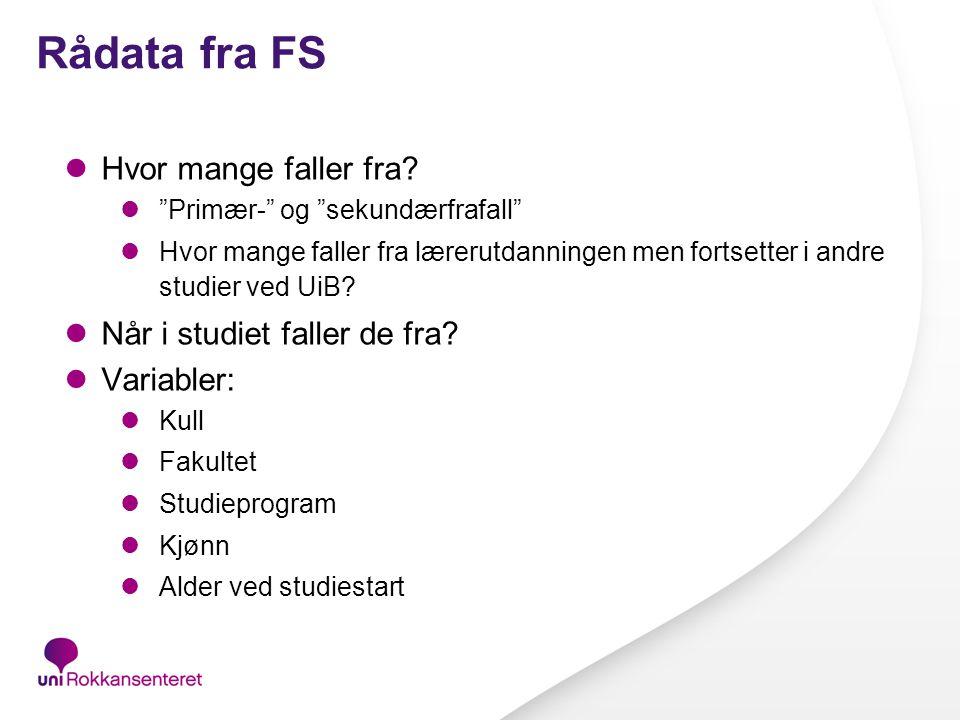 Rådata fra FS Hvor mange faller fra.