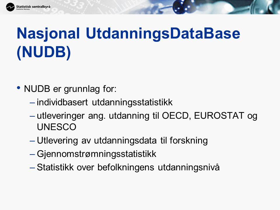 Nasjonal UtdanningsDataBase (NUDB) NUDB er grunnlag for: –individbasert utdanningsstatistikk –utleveringer ang.