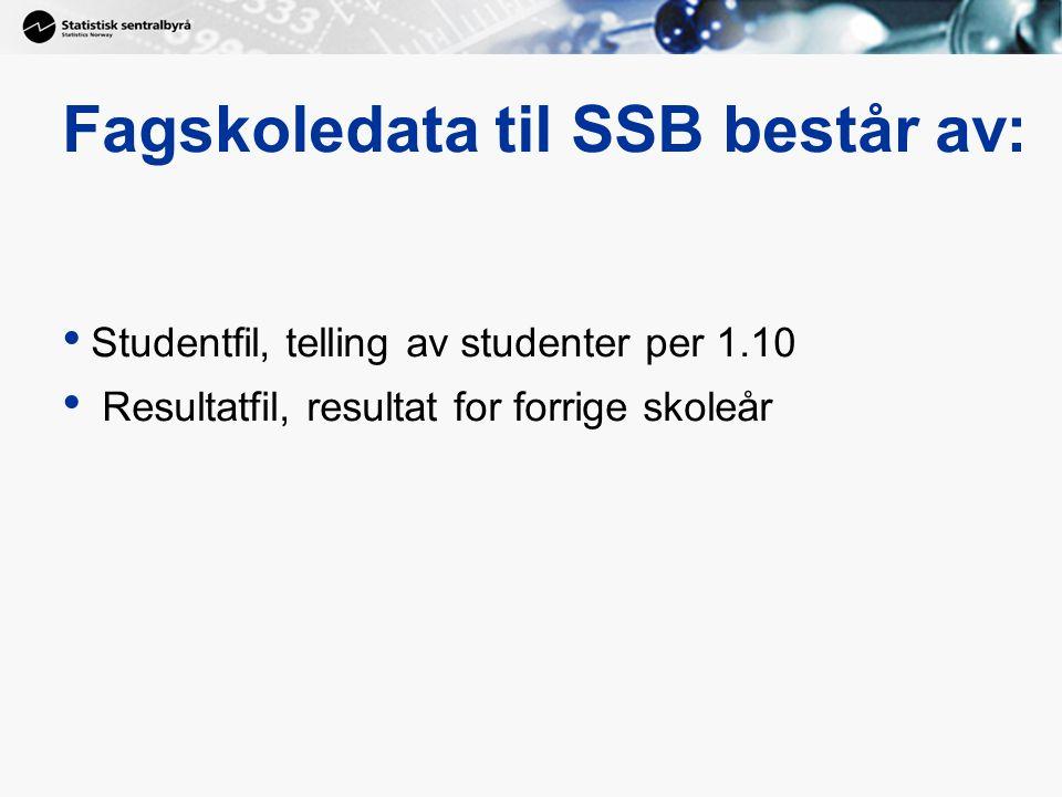 Fagskoledata til SSB består av: Studentfil, telling av studenter per 1.10 Resultatfil, resultat for forrige skoleår