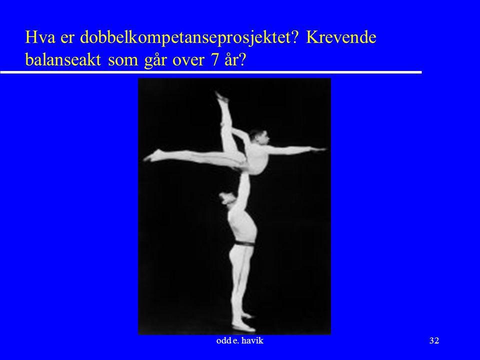 odd e. havik32 Hva er dobbelkompetanseprosjektet Krevende balanseakt som går over 7 år