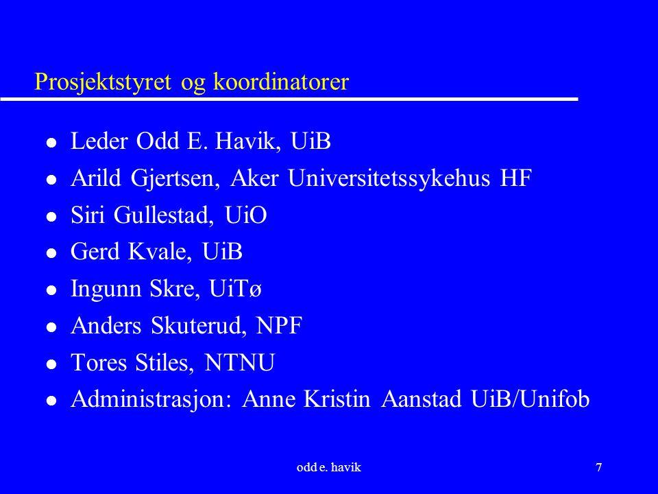 odd e. havik7 Prosjektstyret og koordinatorer l Leder Odd E.