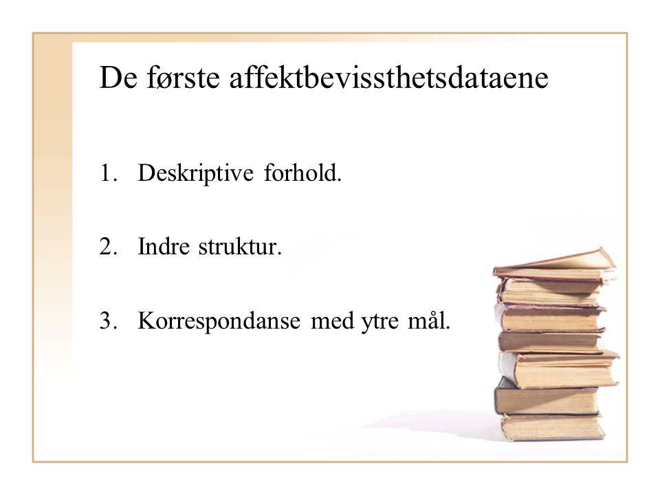 De første affektbevissthetsdataene 1.Deskriptive forhold. 2.Indre struktur. 3.Korrespondanse med ytre mål.