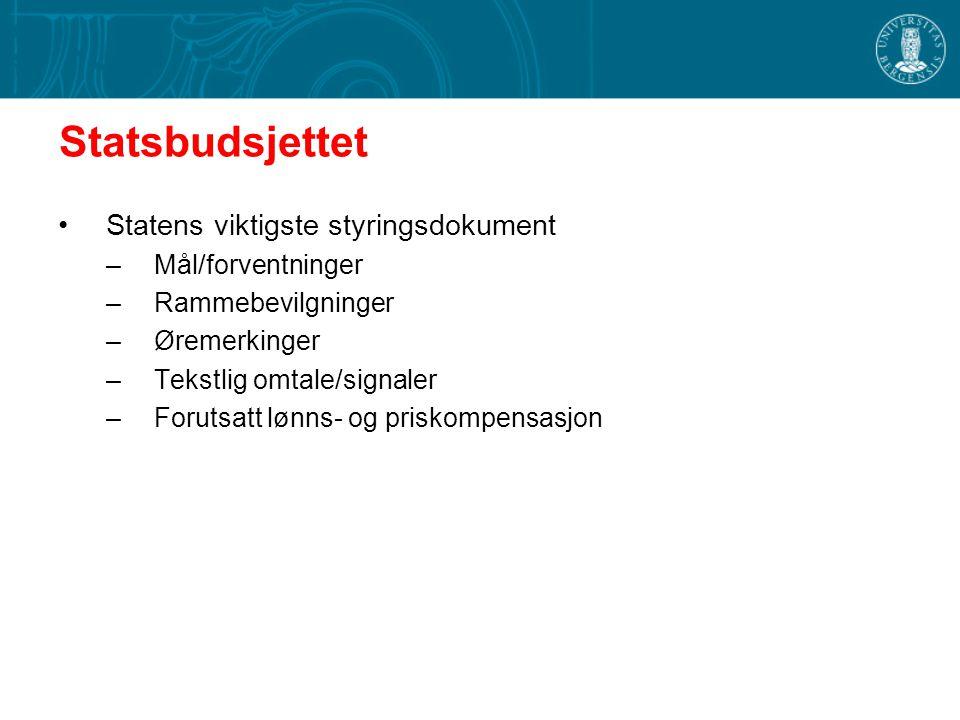 Statsbudsjettet Statens viktigste styringsdokument –Mål/forventninger –Rammebevilgninger –Øremerkinger –Tekstlig omtale/signaler –Forutsatt lønns- og