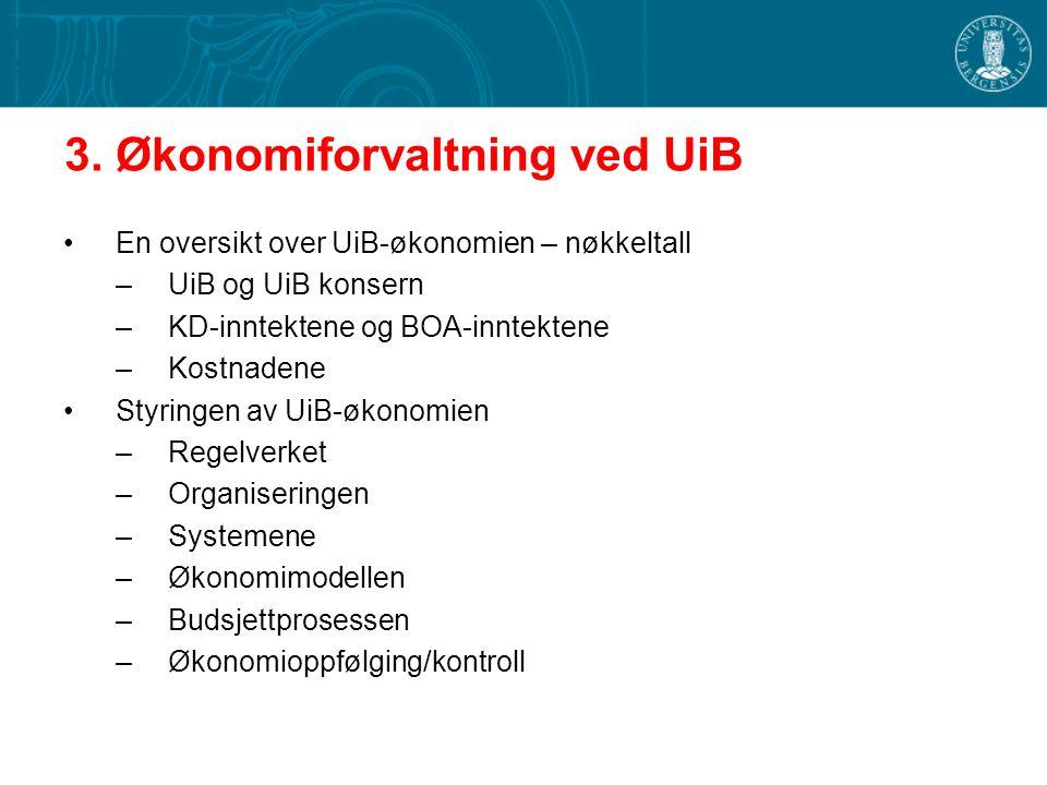 3. Økonomiforvaltning ved UiB En oversikt over UiB-økonomien – nøkkeltall –UiB og UiB konsern –KD-inntektene og BOA-inntektene –Kostnadene Styringen a
