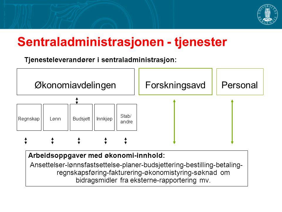 Sentraladministrasjonen - tjenester Arbeidsoppgaver med økonomi-innhold: Ansettelser-lønnsfastsettelse-planer-budsjettering-bestilling-betaling- regns