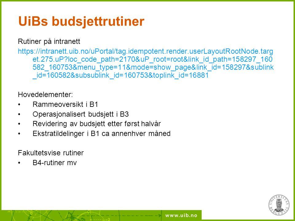 UiBs budsjettrutiner Rutiner på intranett https://intranett.uib.no/uPortal/tag.idempotent.render.userLayoutRootNode.targ et.275.uP?loc_code_path=2170&