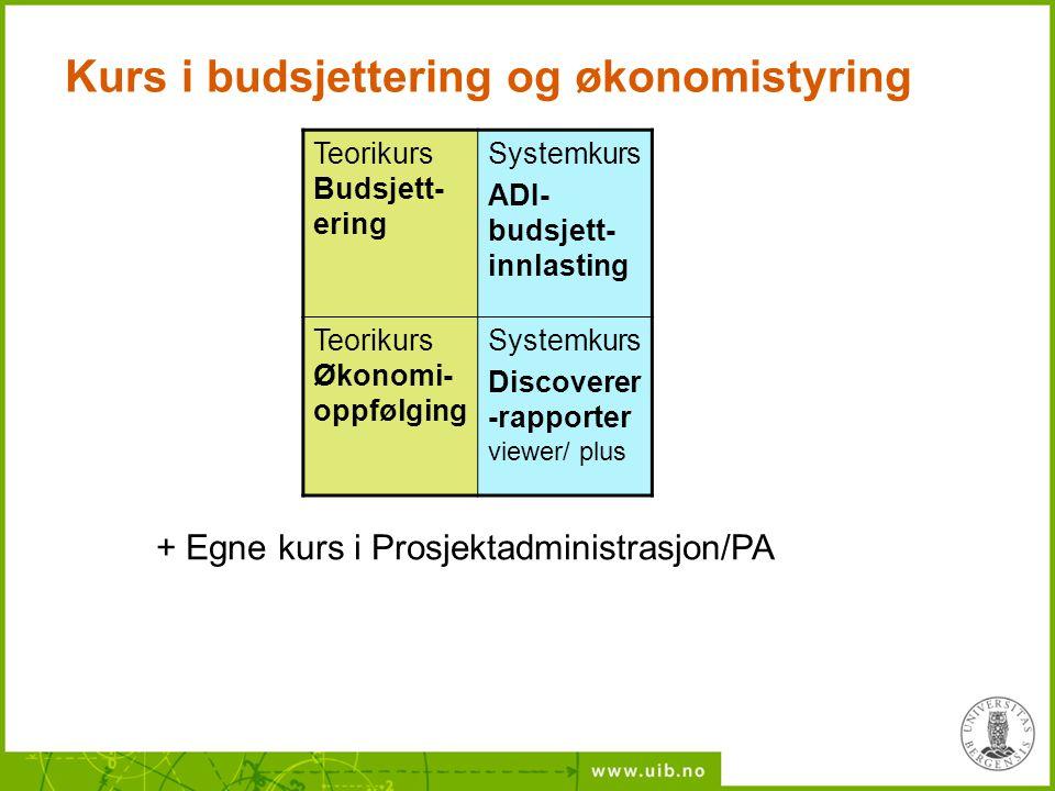 Kurs i budsjettering og økonomistyring Teorikurs Budsjett- ering Systemkurs ADI- budsjett- innlasting Teorikurs Økonomi- oppfølging Systemkurs Discove