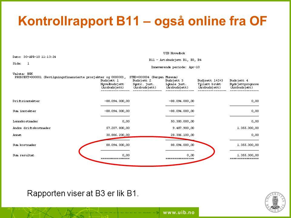 Kontrollrapport B11 – også online fra OF Rapporten viser at B3 er lik B1.