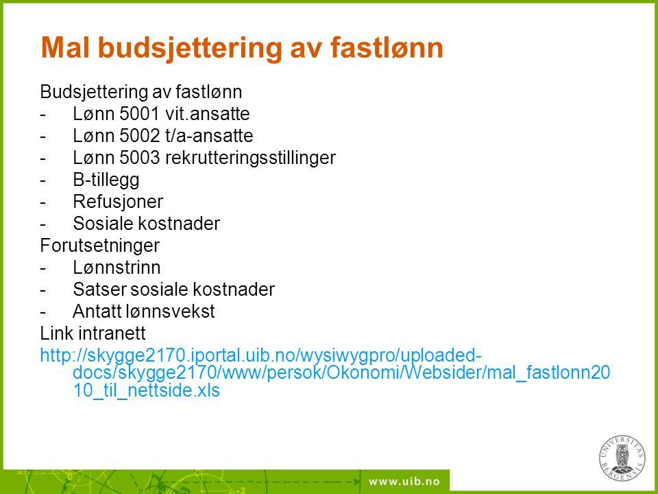 Mal budsjettering av fastlønn Budsjettering av fastlønn -Lønn 5001 vit.ansatte -Lønn 5002 t/a-ansatte -Lønn 5003 rekrutteringsstillinger -B-tillegg -R