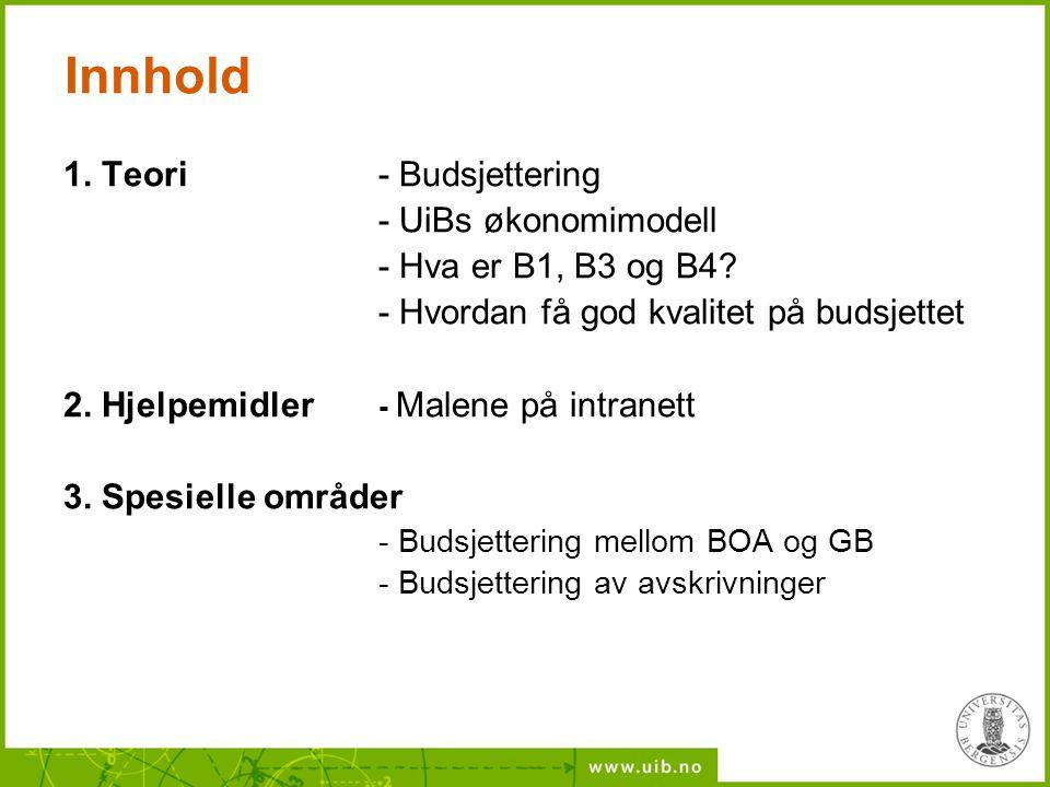 Innhold 1. Teori - Budsjettering - UiBs økonomimodell - Hva er B1, B3 og B4? - Hvordan få god kvalitet på budsjettet 2. Hjelpemidler - Malene på intra