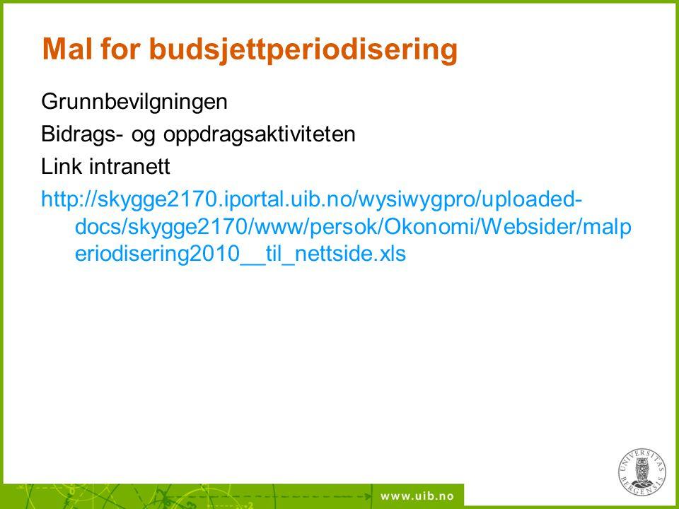 Mal for budsjettperiodisering Grunnbevilgningen Bidrags- og oppdragsaktiviteten Link intranett http://skygge2170.iportal.uib.no/wysiwygpro/uploaded- d