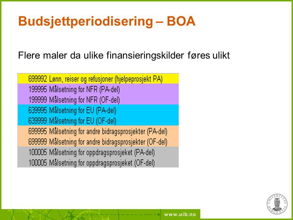 Budsjettperiodisering – BOA Flere maler da ulike finansieringskilder føres ulikt