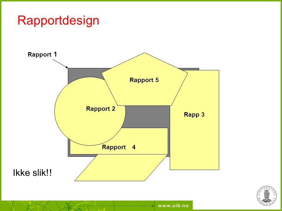 Rapportdesign Rapp 3 Rapport  4 Rapport 1 Rapport 2 Rapport 5 Ikke slik!!