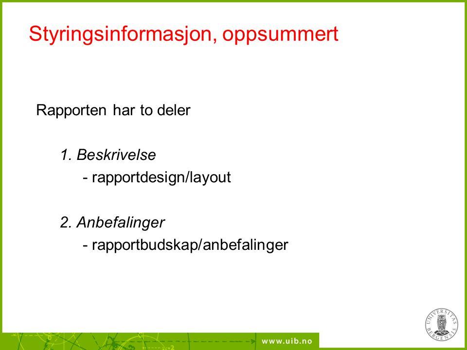 Styringsinformasjon, oppsummert Rapporten har to deler 1. Beskrivelse - rapportdesign/layout 2. Anbefalinger - rapportbudskap/anbefalinger