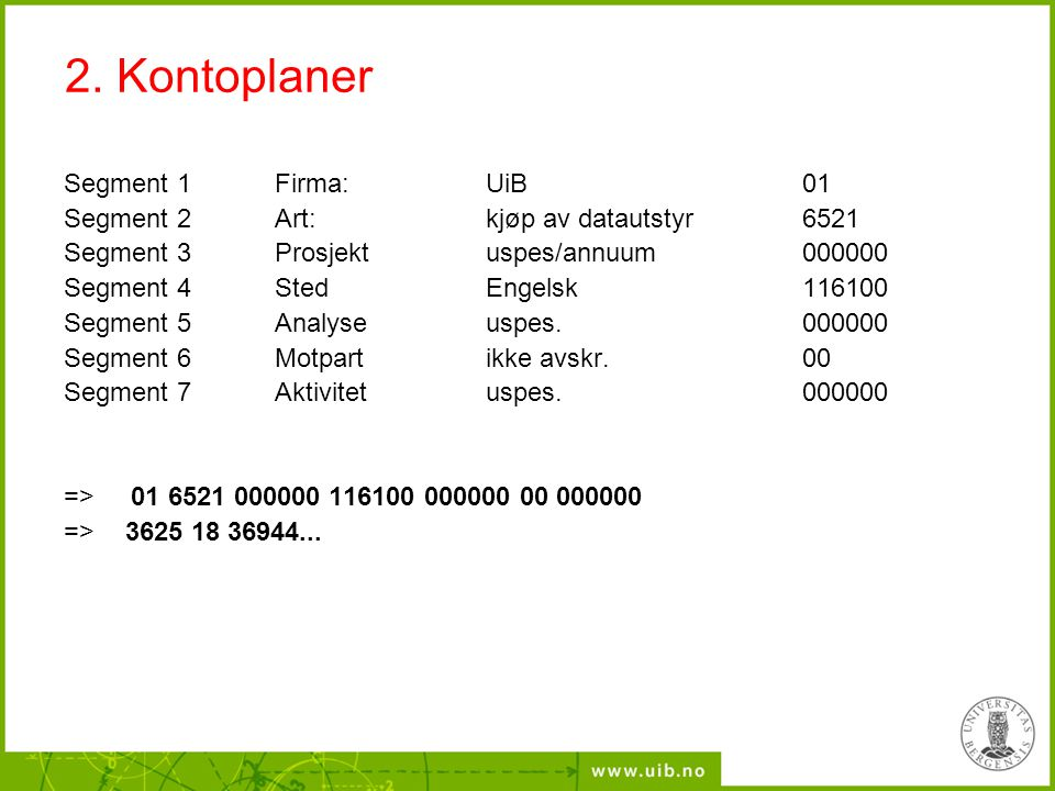 2. Kontoplaner Segment 1 Firma: UiB 01 Segment 2 Art: kjøp av datautstyr6521 Segment 3 Prosjekt uspes/annuum000000 Segment 4StedEngelsk116100 Segment