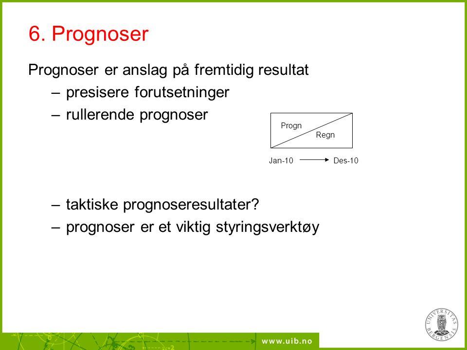 Prognoser er anslag på fremtidig resultat –presisere forutsetninger –rullerende prognoser –taktiske prognoseresultater? –prognoser er et viktig styrin
