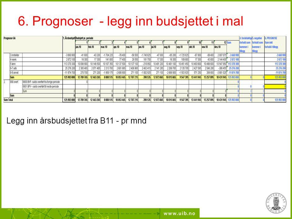 6. Prognoser - legg inn budsjettet i mal Legg inn årsbudsjettet fra B11 - pr mnd
