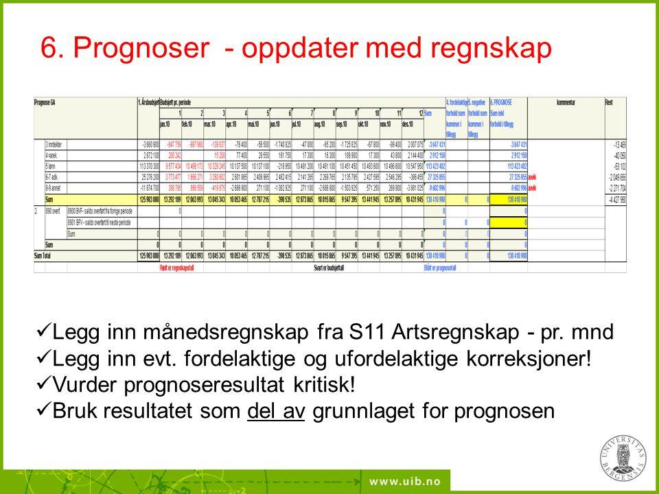 6. Prognoser - oppdater med regnskap Legg inn månedsregnskap fra S11 Artsregnskap - pr. mnd Legg inn evt. fordelaktige og ufordelaktige korreksjoner!