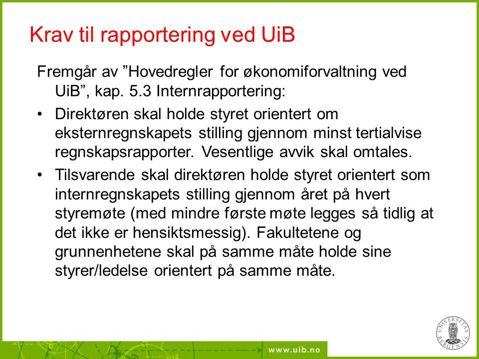 """Krav til rapportering ved UiB Fremgår av """"Hovedregler for økonomiforvaltning ved UiB"""", kap. 5.3 Internrapportering: Direktøren skal holde styret orien"""