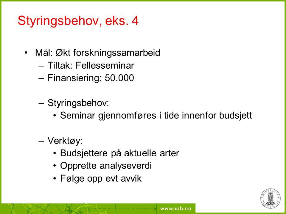 Styringsbehov, eks. 4 Mål: Økt forskningssamarbeid –Tiltak: Fellesseminar –Finansiering: 50.000 –Styringsbehov: Seminar gjennomføres i tide innenfor b