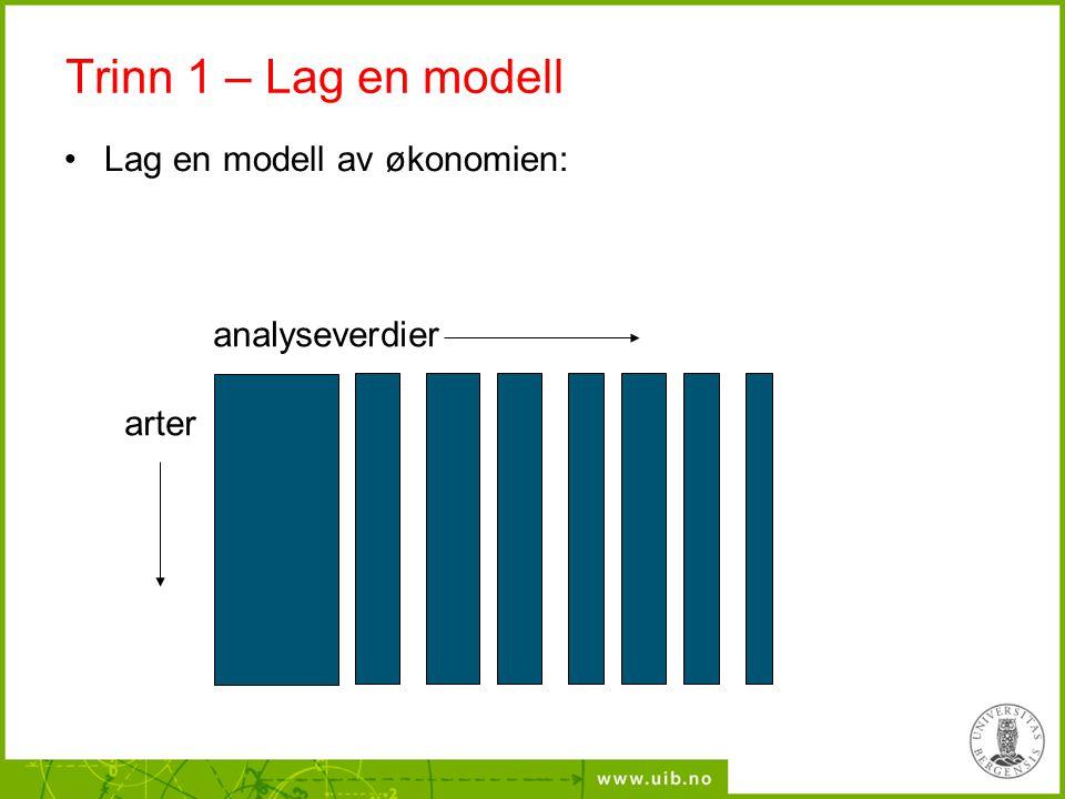 Trinn 1 – Lag en modell Lag en modell av økonomien: analyseverdier arter