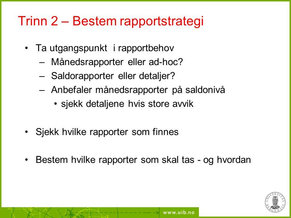 Trinn 2 – Bestem rapportstrategi Ta utgangspunkt i rapportbehov – Månedsrapporter eller ad-hoc? – Saldorapporter eller detaljer? – Anbefaler månedsrap