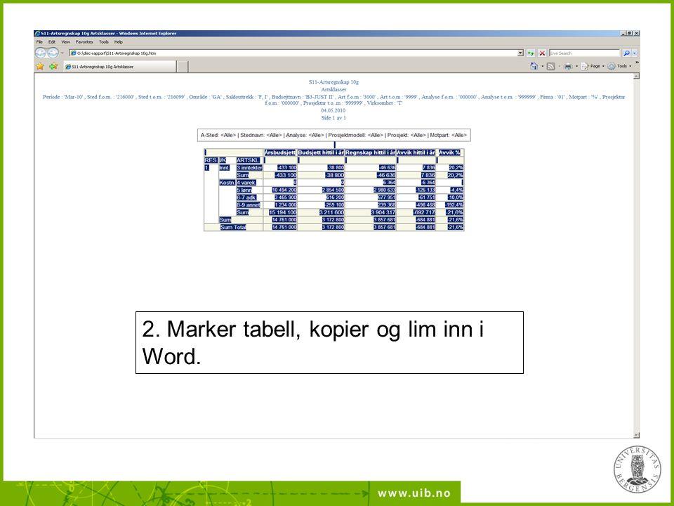 2. Marker tabell, kopier og lim inn i Word.