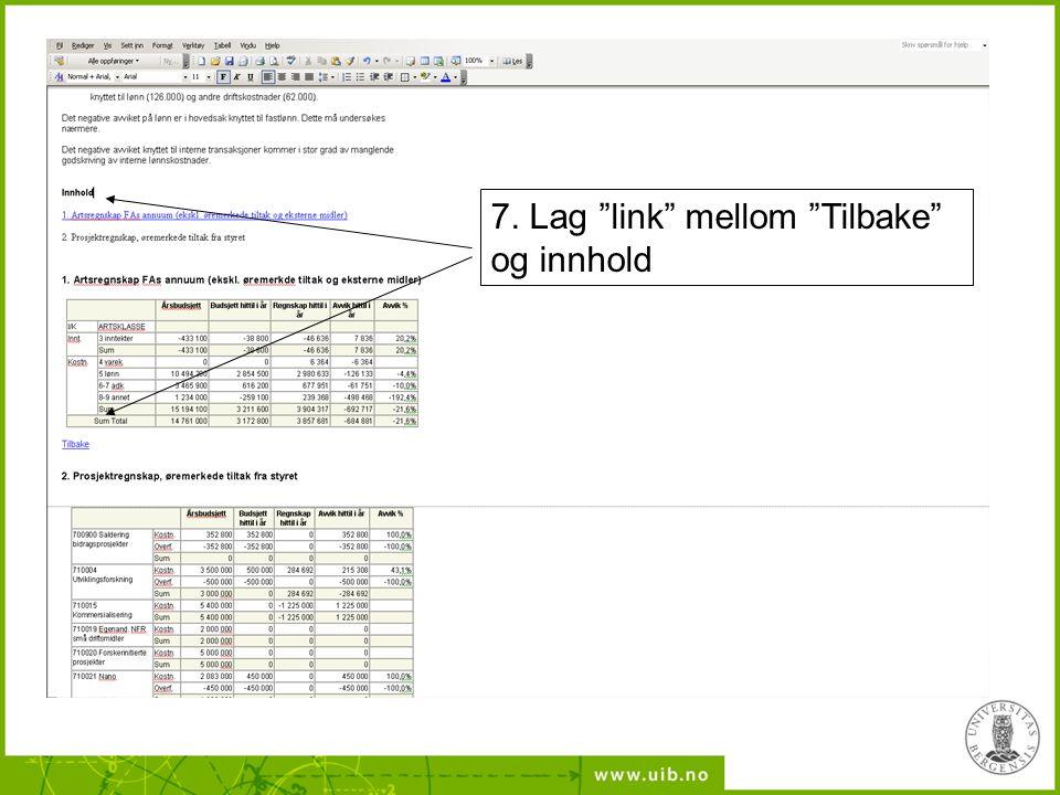"""7. Lag """"link"""" mellom """"Tilbake"""" og innhold"""