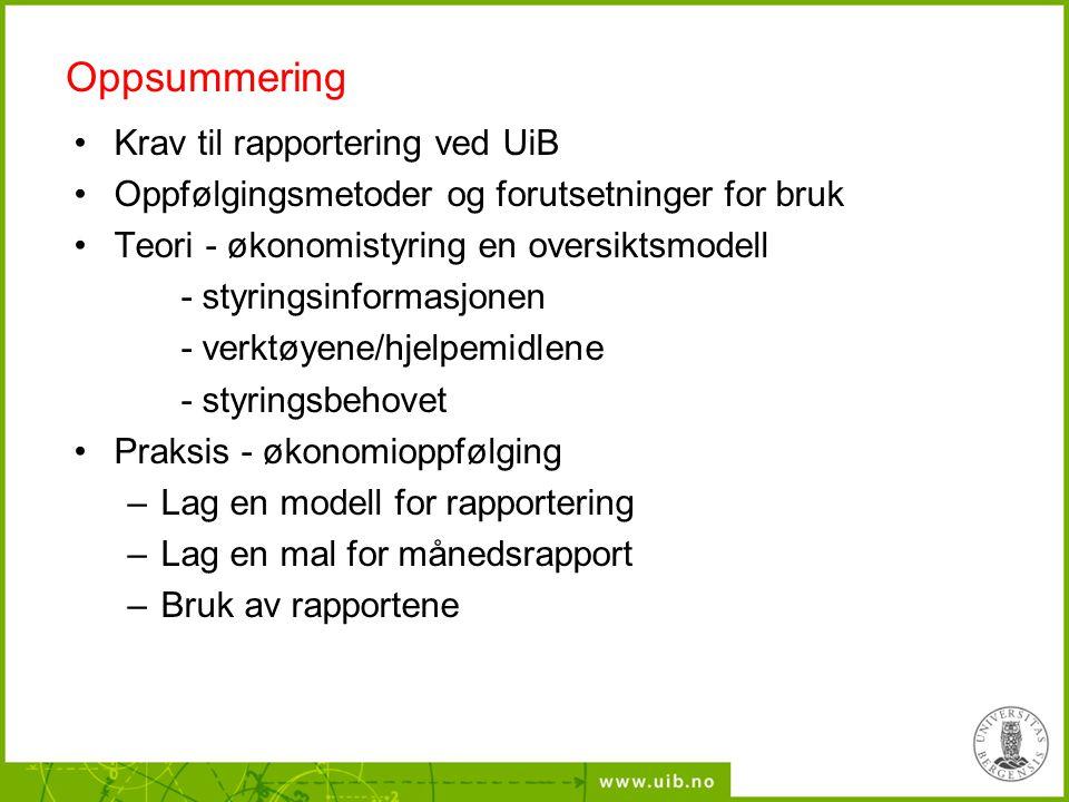 Oppsummering Krav til rapportering ved UiB Oppfølgingsmetoder og forutsetninger for bruk Teori - økonomistyring en oversiktsmodell - styringsinformasj