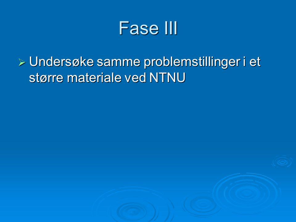 Fase III  Undersøke samme problemstillinger i et større materiale ved NTNU