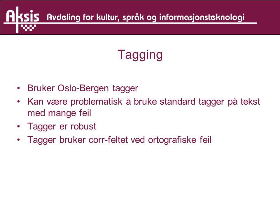 Tagging Bruker Oslo-Bergen tagger Kan være problematisk å bruke standard tagger på tekst med mange feil Tagger er robust Tagger bruker corr-feltet ved ortografiske feil