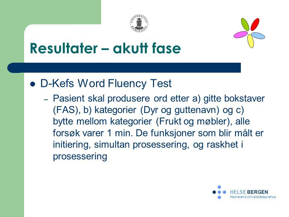 Resultater – akutt fase D-Kefs Word Fluency Test – Pasient skal produsere ord etter a) gitte bokstaver (FAS), b) kategorier (Dyr og guttenavn) og c) b