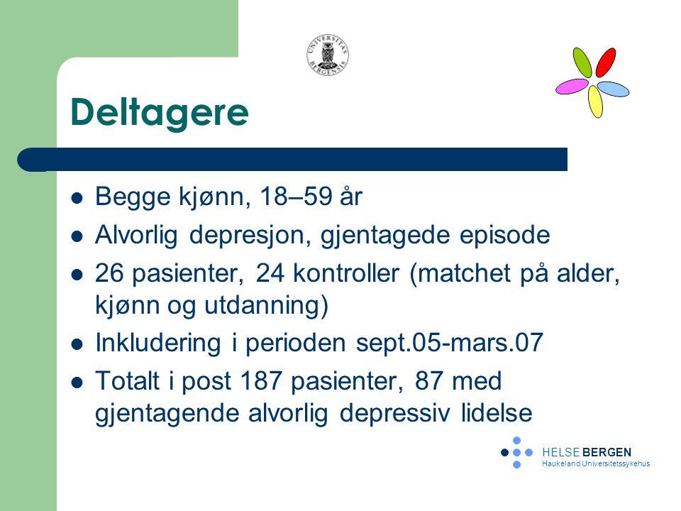 Deltagere Begge kjønn, 18–59 år Alvorlig depresjon, gjentagede episode 26 pasienter, 24 kontroller (matchet på alder, kjønn og utdanning) Inkludering
