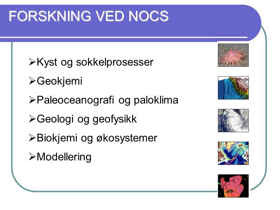FORSKNING VED NOCS  Kyst og sokkelprosesser  Geokjemi  Paleoceanografi og paloklima  Geologi og geofysikk  Biokjemi og økosystemer  Modellering